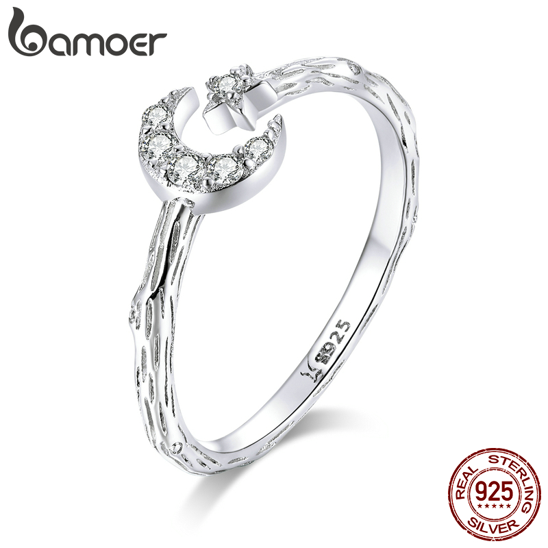 Bamoer Vintage 925 Sterling Silver Moon And Star Open Adjustable Finger Rings For Women Retro Stylish Jewelry New SCR638