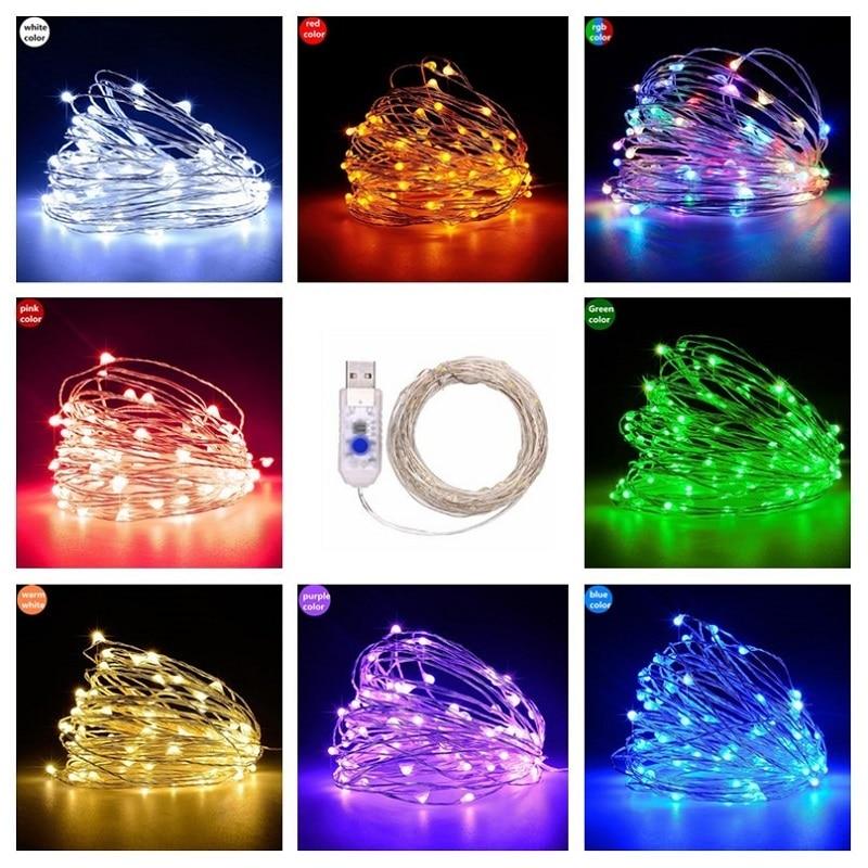 10 Meters 5V USB RGB LED String Lights 8 Modes Waterproof Christmas Lights Indoor Decoration Lighting Xmas Garland Fairy Light