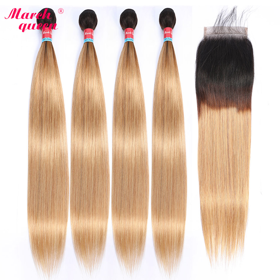 Marchqueen Pre-Colored Peruvian Human Hair Bundles With Closure Ombre T1B/27 Straight Hair 4 PCS With Closure Non Remy Hair Weft