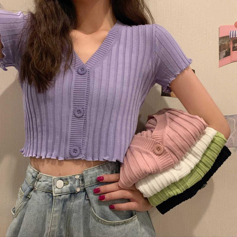 Zomer Vrouwen V-hals Gebreide Casual Korte Mouw Vesten Lady Breien Single-Breasted Trui Shirts Crop Tops Voor Meisjes