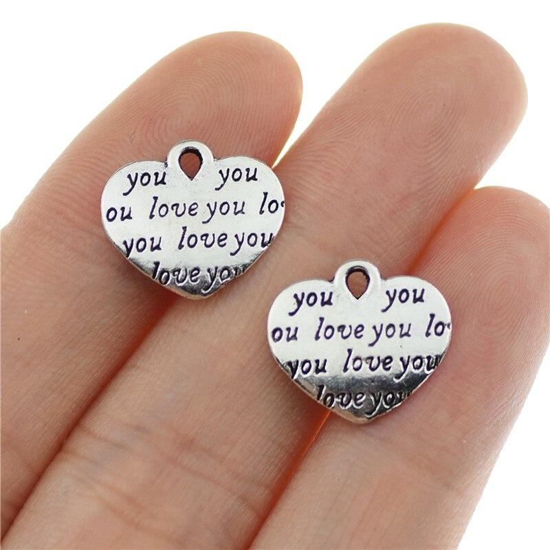 20 штук 14x12 мм старинное серебро Цвет ЛЮБЛЮ ТЕБЯ слова подвеска в форме сердца