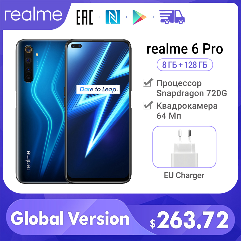Smartphone Realme 6 Pro Global Version 8+128GB 64MP Cameras Snapdragon 720G 6.6inch 90Hz Display Fast Charging 30W Cellphone NFC