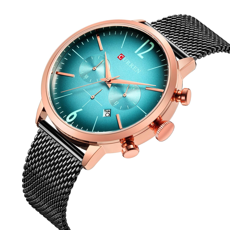 CURREN Chronograph Quartz Watch Black Stainless Steel Multifunction Waterproof Sport Luxury Rose Gold Case