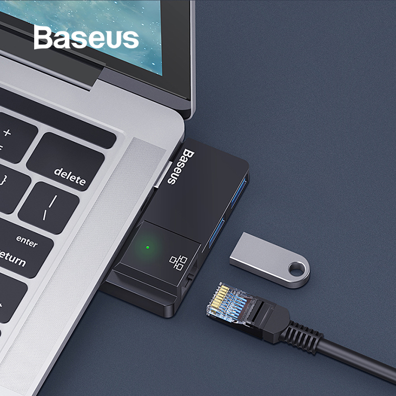 Baseus USB C HUB USB 3.0 HDMI RJ45 USB Splitter For Surface Go Pro MacBook Pro USB HUB Multi USB Ethernet USB-C HUB Accessories
