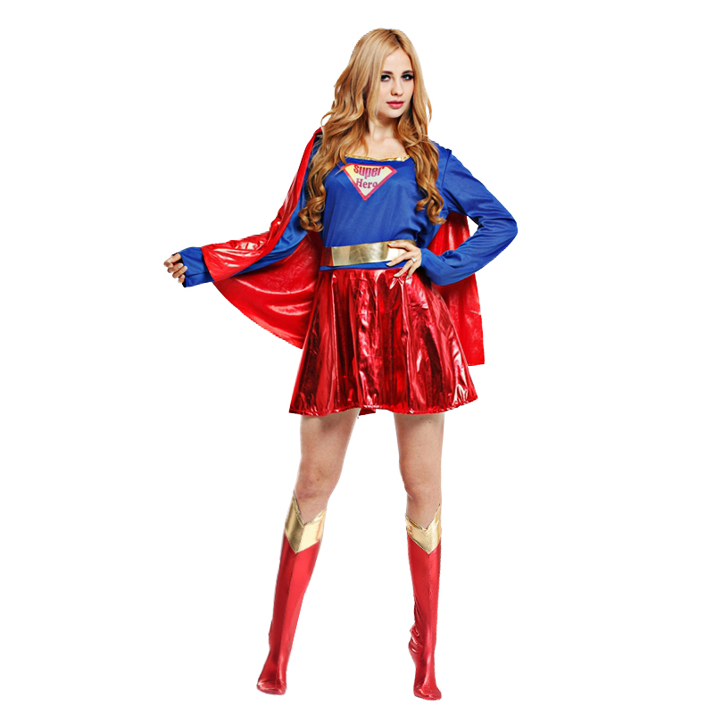 Halloween Super Woman With Cloak Shoes Dress Superman Cosplay Costumes For Adult And Girls Supersuits Superhero Wonder Dress Up