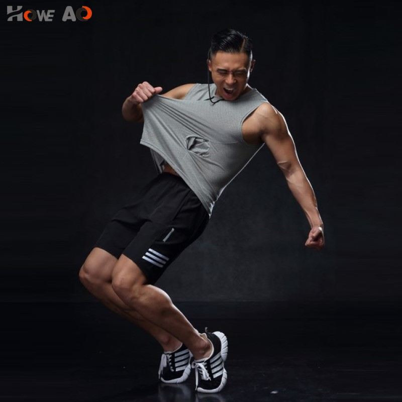 HOWE AO Men  Summer New  Shorts Man Gyms Fitness Knee Length Sweatpants Male Jogger Workout Brand Short Pants