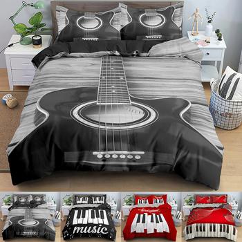 Zestaw pościeli muzycznej klawiatura pianina nuta kołdra okładka rozmiar Queen pościel pocieszyciel z mikrofibry gitara komplety pościeli tanie i dobre opinie Brak Zestawy poszew na kołdry CN (pochodzenie) mikrofibra 1 0 m (3 3 stóp) 1 2 m (4 stóp) 1 35 m (4 5 stóp) 1 5 m (5 stóp)
