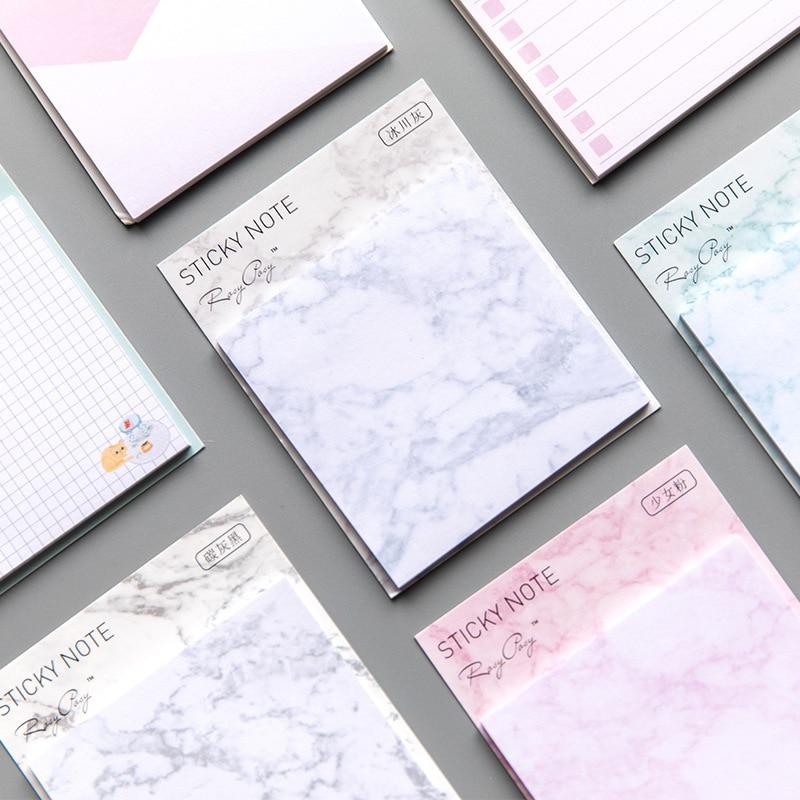 Marbling Horizontal Grid Pattern Memo Pad Sticky Notes Escolar Papelaria School Supply Bookmark Label