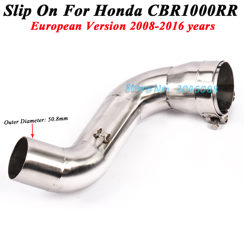 Slip On For Honda <font><b>CBR1000RR</b></font> <font><b>2008</b></font> - 2016 European Version Motorcycle <font><b>Exhaust</b></font> Escape Modifed Middle Contaction Link Pipe Without Muffler image