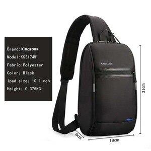 Image 3 - Kingsons tek omuz sırt çantası erkekler Mini sırt çantası su geçirmez Laptop sırt çantası 10.1 inç küçük USB sırt çantası çalışan ve sürme