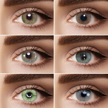 1 Pair Fantasy-Sandy series Colored Contact Lens Yearly Use Cosmetic Super Natural Contact Lenses Eye Color GREEN BLUE GREY очки nike optics show x1 r matte black turbo green grey sky blue flash lens