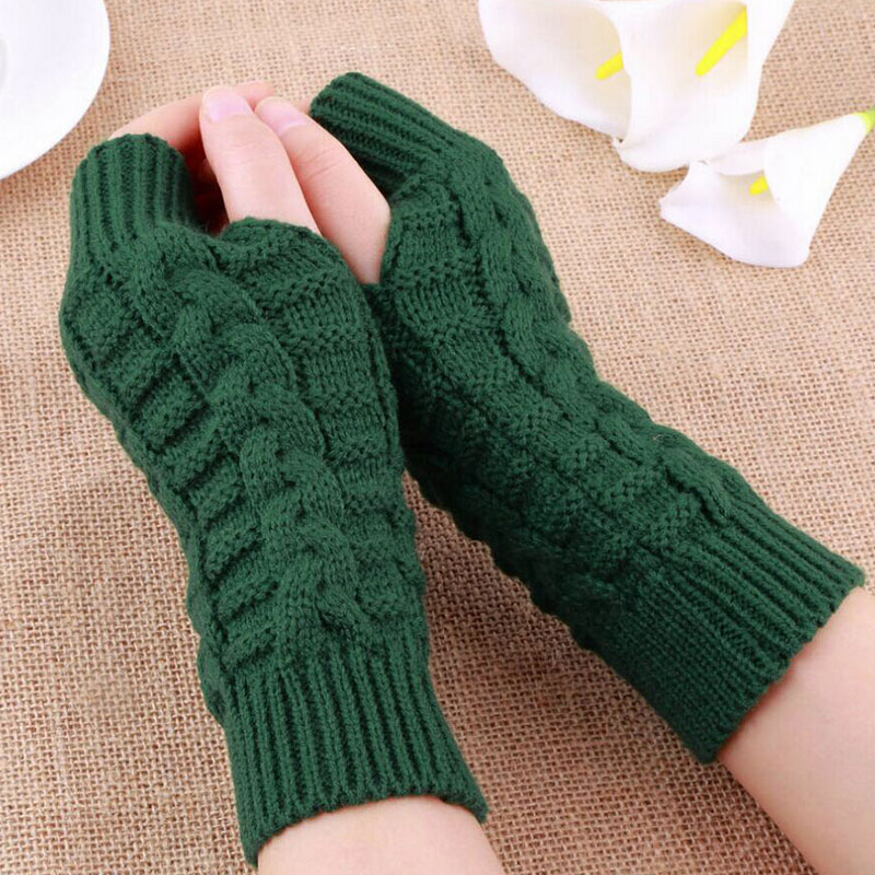 Women Men Twist Crochet Knitted Fingerless Gloves Short Arm Sleeve Warm Mittens Solid Color Arm Warmer High Quality Unisex