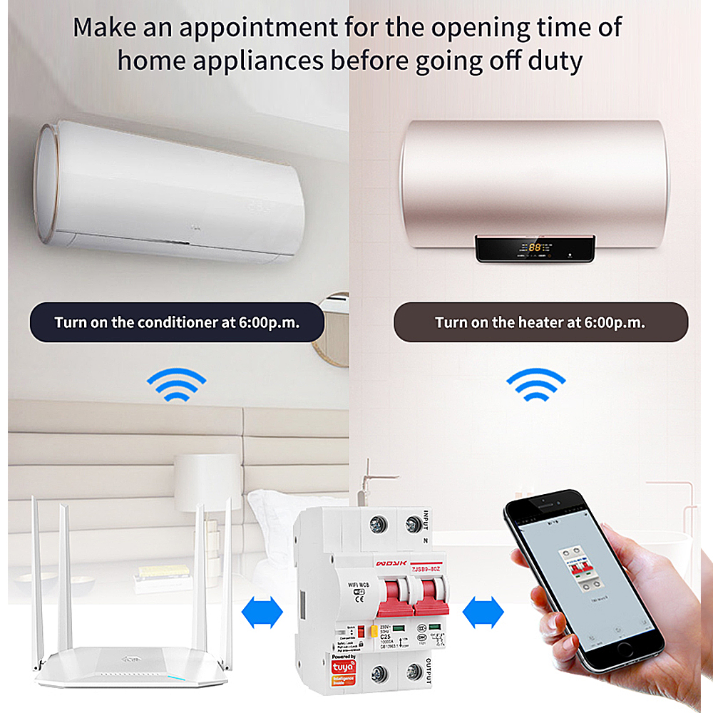 Tuya  App 2P WiFi Smart Switch Overload Short Circuit Protection With  Alexa Google Home For Smart Home