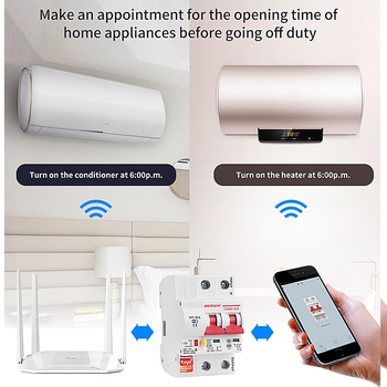 Tuya  app 2P WiFi Smart Switch overload short circuit protection with  Alexa google home for Smart Home ewelink 2p wifi energy monitoring rcbo circuit breaker overload short current leakage protection with alexa and google home