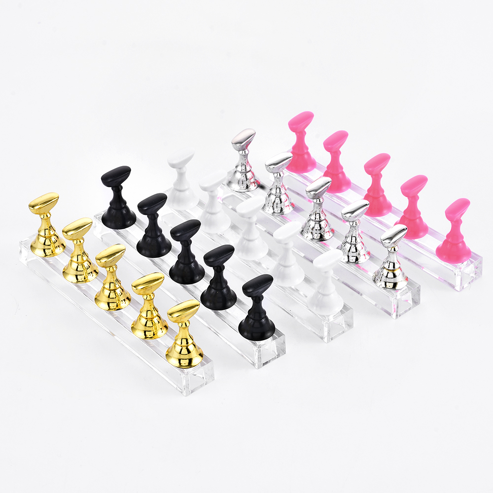 1Set Magnetic False Nail Tips Practice Trainning Display Stand Holder Base Alloy Crystal Nail Art Polish Display Manicure Tools