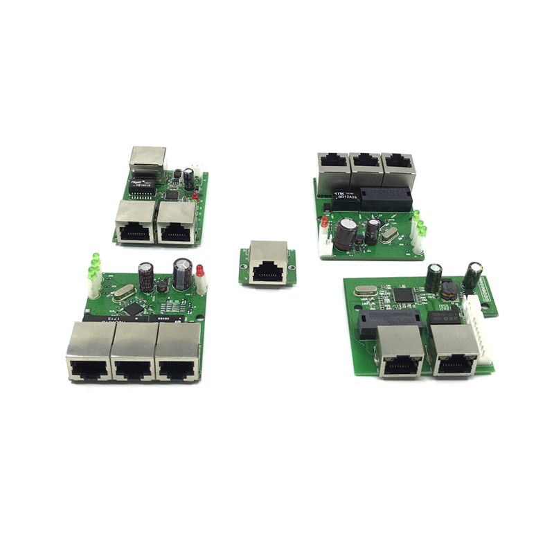 OEM factory direct mini fast 10 / 100mbps 3-port Ethernet network lan hub switch board two-layer pcb 5V 12V head port