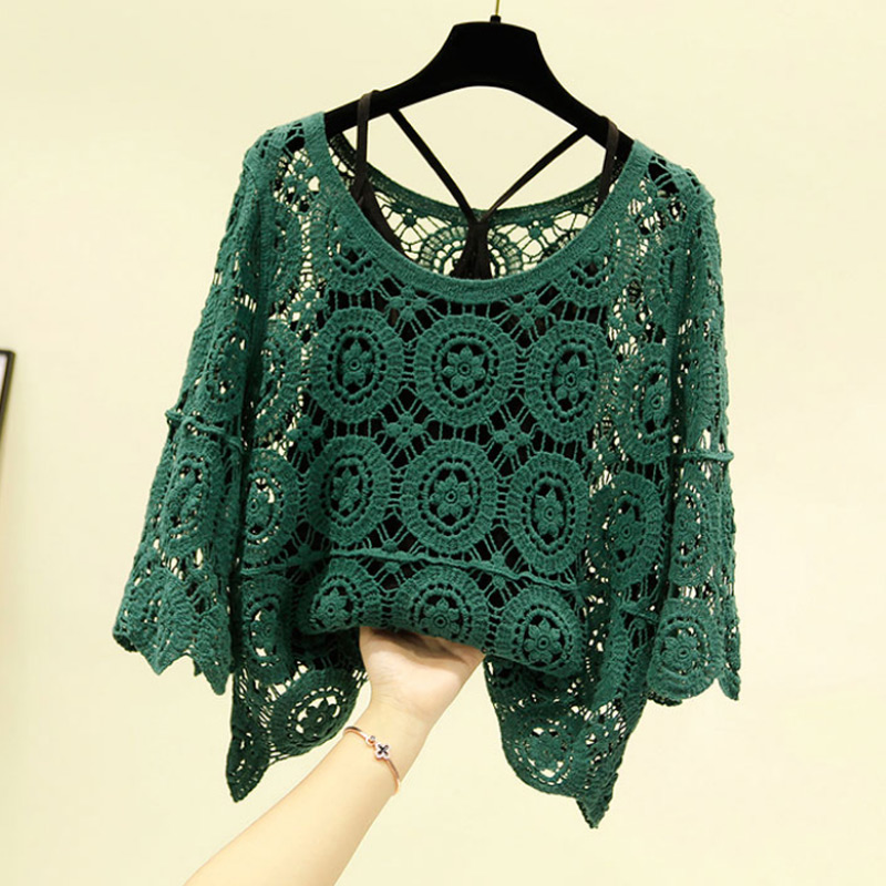 Korean Loose 2 Pieces Set Lace Blouse Vintage Floral Crochet Hollow Out Lace Shirt Women 2020 Summer Crop Tops And Blouses