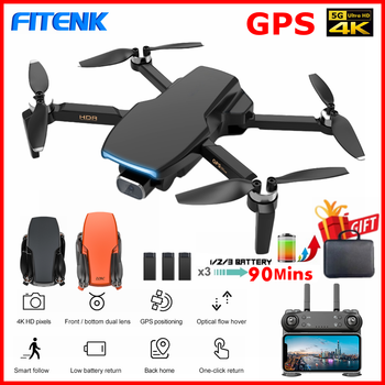 FITENK SG108 GPS Drone with 5G WiFi FPV 4K Dual HD Camera Professional Brushless Foldable RC Quadcopter Follow Me Mini Dron L108 fema e525 e525s gps drone with 4k 1080p 5g wifi fpv hd wide angle camera foldable mini dron rc quadcopter follow me vs e520s