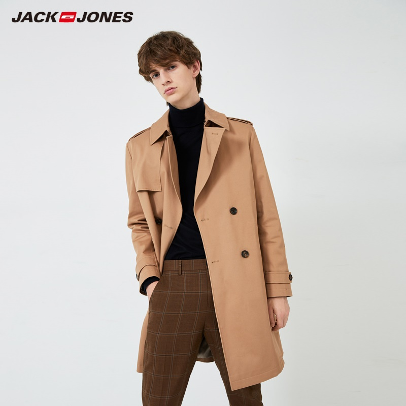 JackJones Spring Men's Military Double-breasted Mid-length Business Trench Coat  219321522
