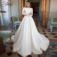 SERMENT Long Sleeve Satin Wedding Dress 2019 High Collar Soft Chapel Train Backless Regular Free Custom Made Plus Size