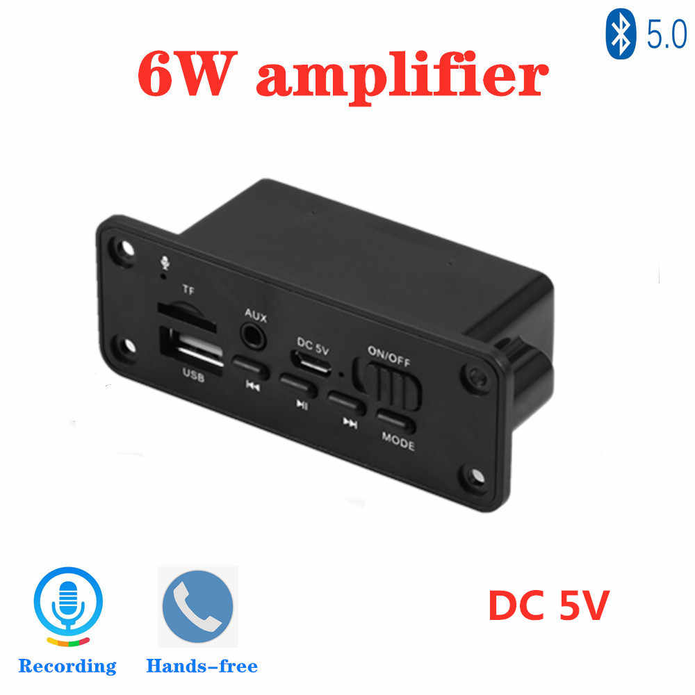 2*3W Amplifier Bluetooth 5.0 MP3 Pemain Decoder Papan 5V Mobil Radio FM Modul Mendukung FM TF USB AUX Handsfree Call Record