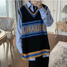 Knitted Sweater Jacket Vest College-Style Korean-Version Men's Sleeveless V-Neck of Embroidery