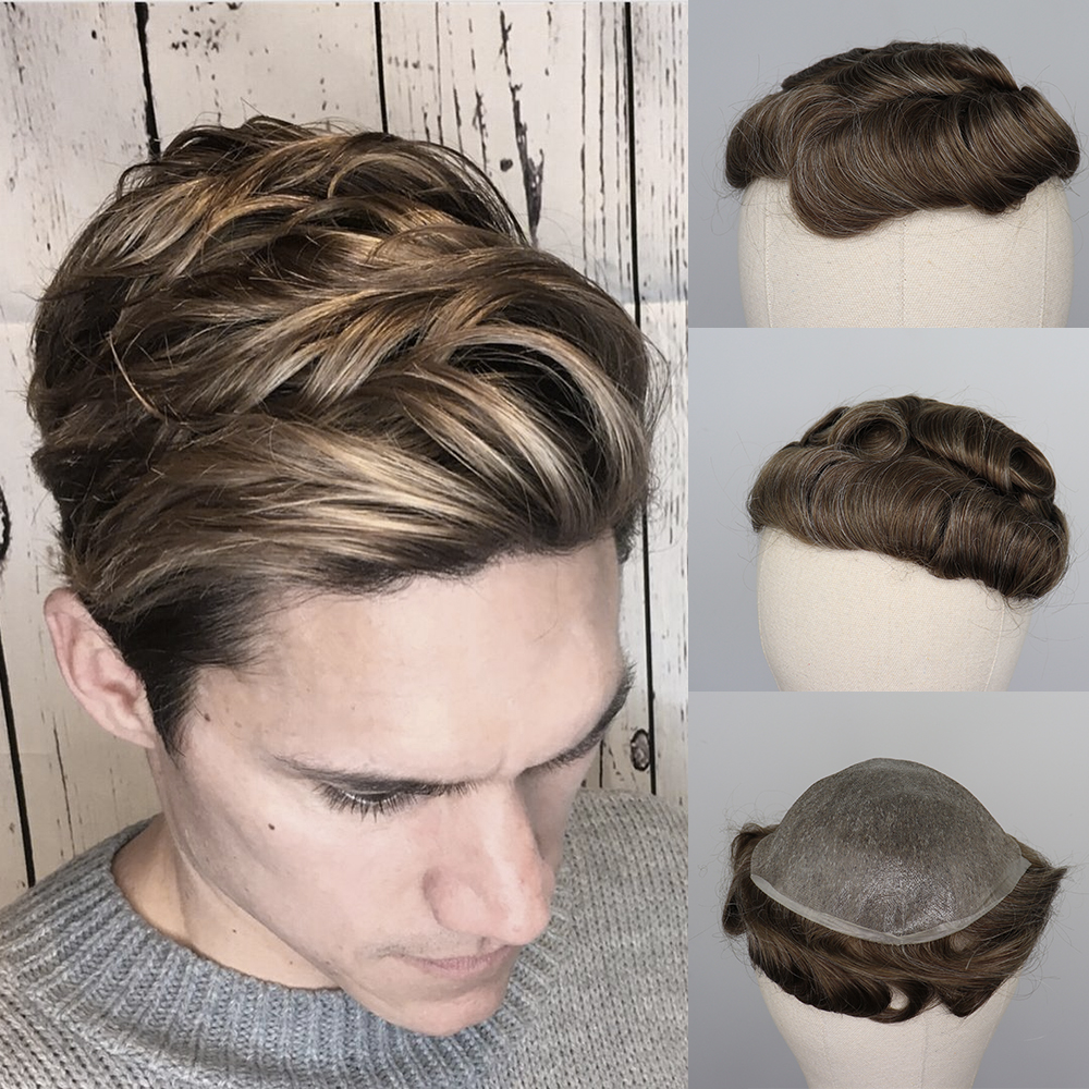 YY Wigs Men's Toupee 8x10 Thin Pu Skin 6 Inch Brown Mix Grey Replacement System Remy Malaysia Hairpiece Mix Color Wigs For Men