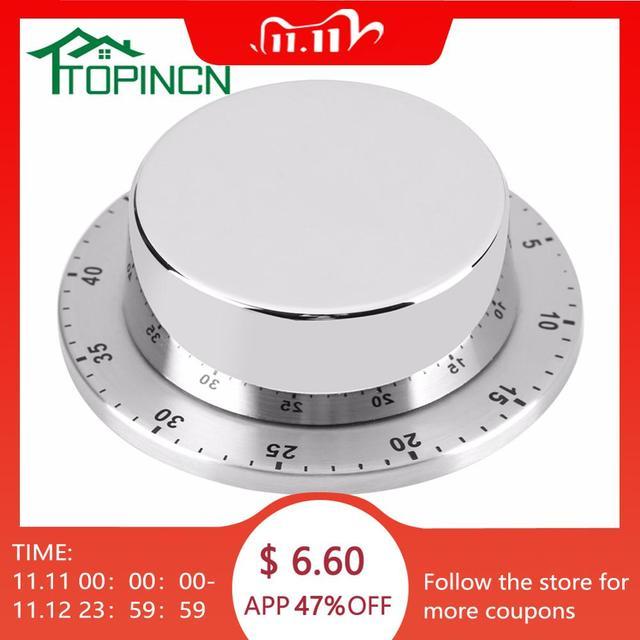 Roestvrijstalen Keuken Timer Met Magnetische Basis Handleiding Mechanische Koken Timer Countdown Koken Gereedschap Keuken Gadgets
