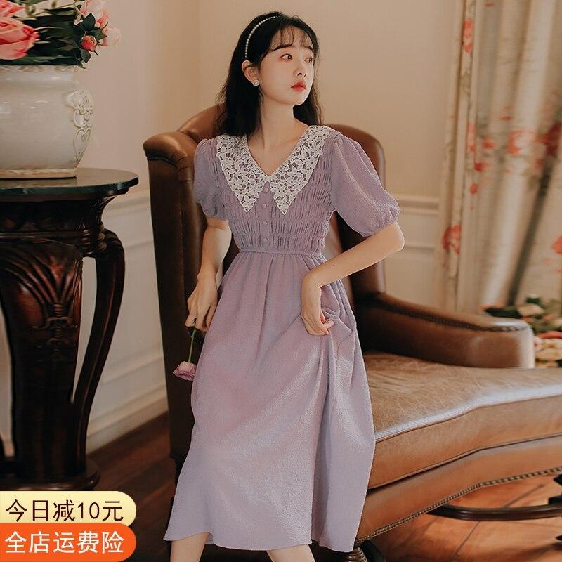 Dress Women's Spring 2021 New French Temperament Medium Length Retro Hepburn Short Sleeve Doll Collar Han Banchao