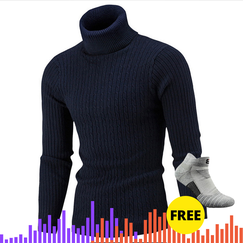 Winter Man Sweater Men's High Neck  Male Solid Simple Slim Fit Hedging Turtleneck Knitted Long Sleeve Pullover Top
