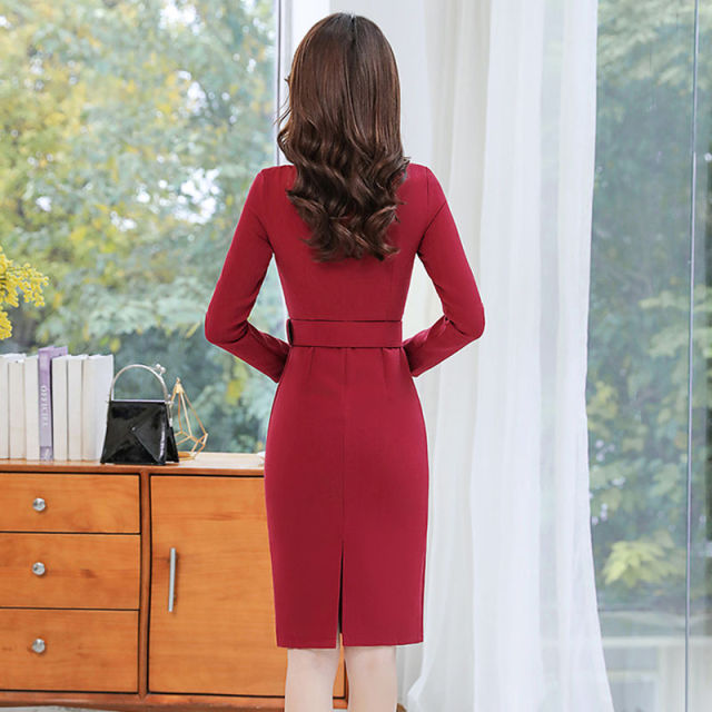 Office Lady Solid O-Neck Bodycon Dress Women Plus Size 4XL Elegant Slim Belt Long Sleeve Party Dress Retro Chic Back Split Dress 4