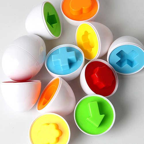6 Pcs EggsChildren Perceptivity Farbe Form Vision Traning Ungiftig Spielzeug Kunststoff Passenden Eier