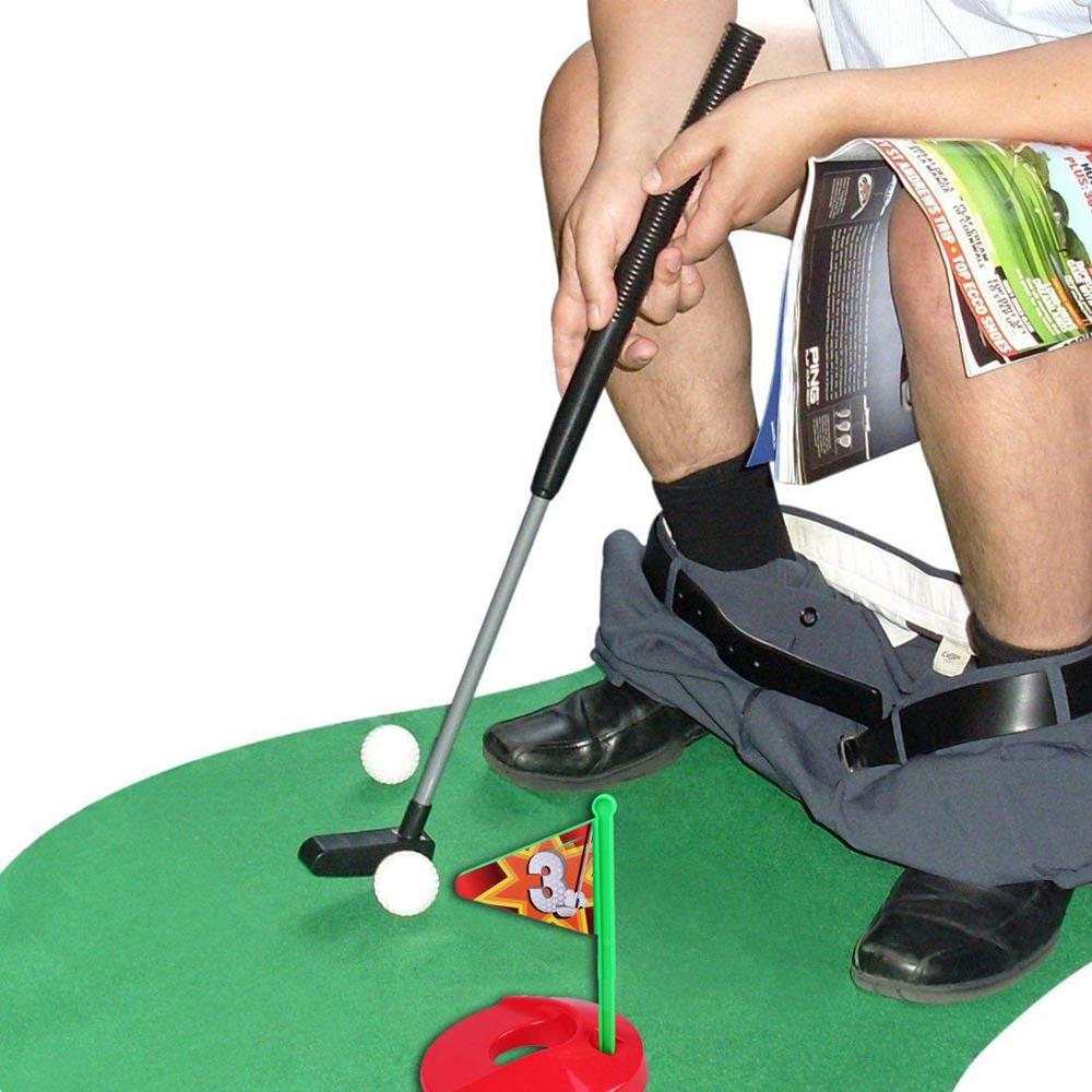 Potty Putter Toilet Golf Game Mini Golf Set Putting Green Novelty Golf Training Aids For Men And Women Practical Jokes