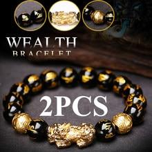2 pçs obsidian pedra grânulos pulseira pixiu pulseira preto riqueza pulseira feng shui pulseiras sorte para mulher homem 2021
