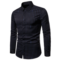 New Arrivals Men's Shirt White British Style Trend Fashion Stripes Printed Men's Dress Shirt Summer Clothing Men Streetwear B714