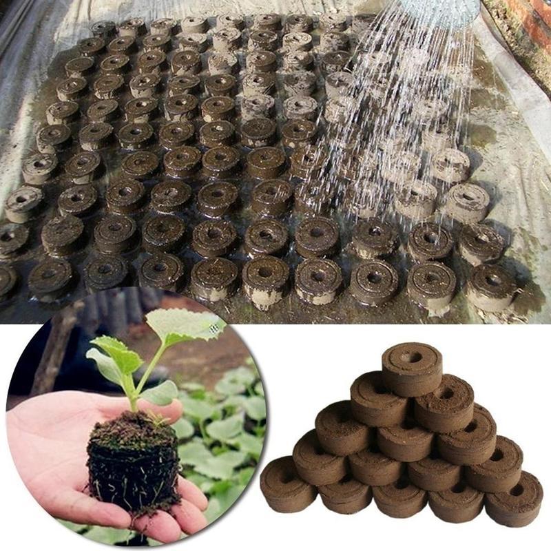 1pc Nursery Pot Block Nutrient Compression Peat Magic Soil Medium Packed Seedling Fertilizer For Plants Gardening Root Supplies