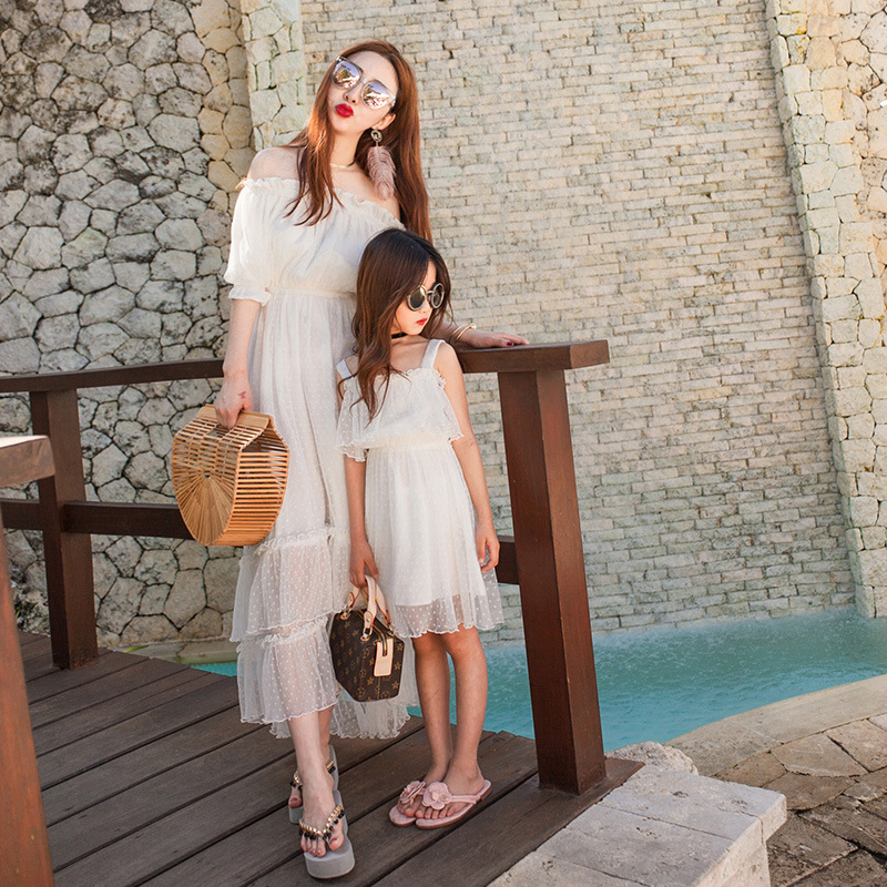 Mother Daughter Wedding Lace Dresses Off Shoulder Fashion Family Matching Mommy And Me Clothes Chiffon Women Mom Dress Girls