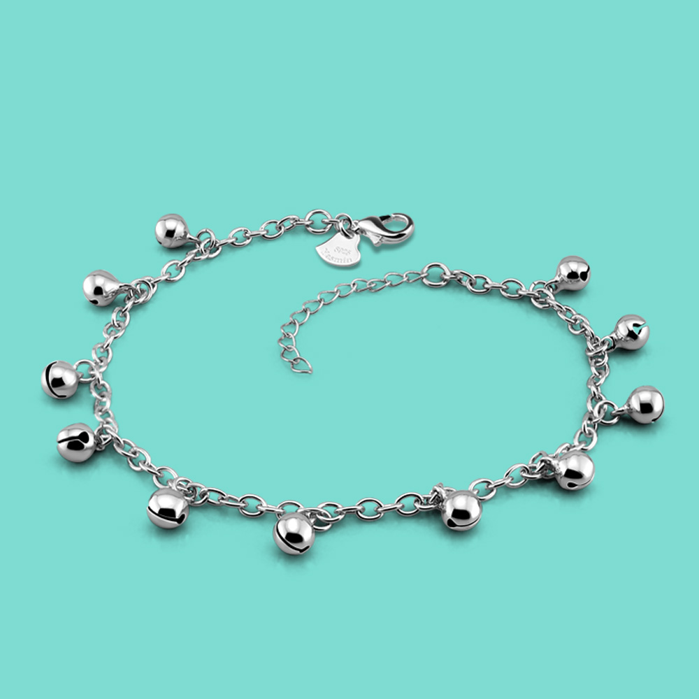lady 925 sterling silver anklets casual the bell design Silver chains girl Summer popular silver jewelry Solid silver anklets