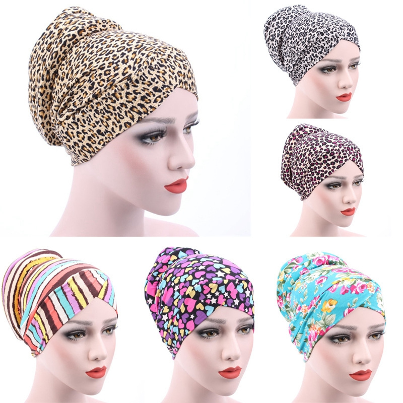 New Leopard Printed Turban Cap Sponge Muslim Hat Ethnic Costume Hat Chemotherapy Cap Female Bandanas Headwear Hair Accessories