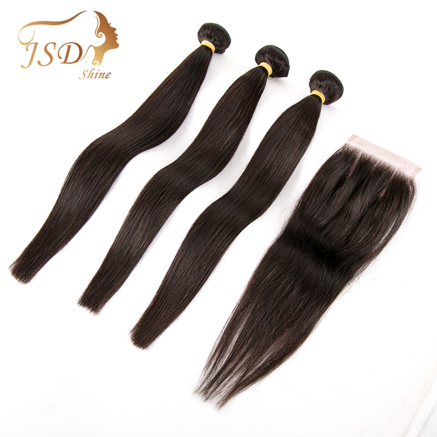 JSDShine Straight Human Hair Bundles With Closure Peruvian Hair Weave Bundles With 4x4 Lace Closure Non Remy Hair Extensions
