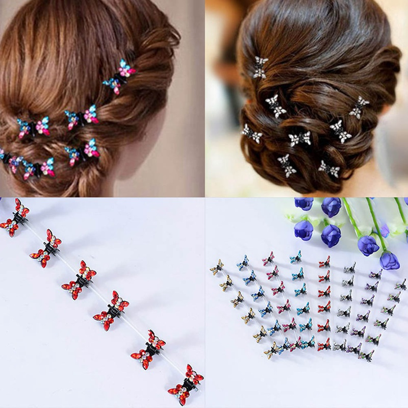 12Pcs/Set Girls Mini Hair Claw Rhinestone Flower Hair Clip Cute DIY Hair Colorful Crystal Hair Accessories
