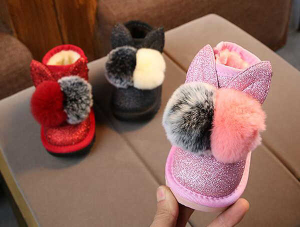 Little Girls Boots Bunny Pom Poms Glitter Ankle Boot  Faux Fur Pink Red Black Animal Boots 2019 New Warm Snow Boots SandQ Baby