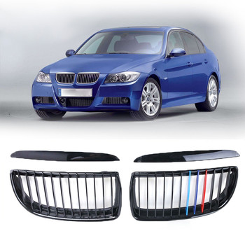2PCS Tricolor Gloss Black Car Front Grille Fit For BMW 2005-2008 E90 Sedan / E91 Touring 4 Door Grills Car Accessories image