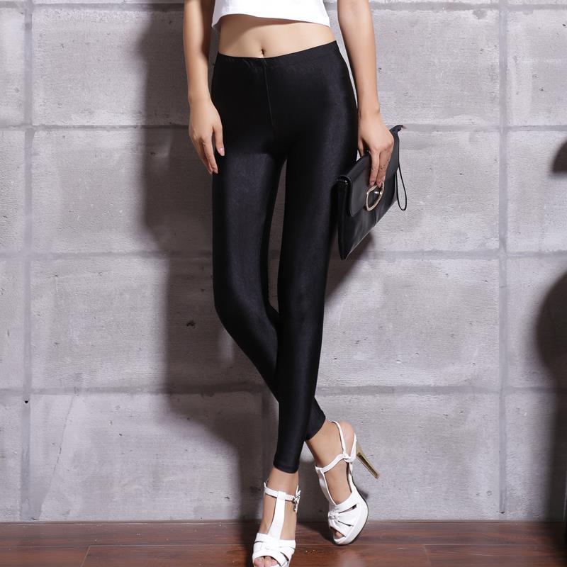 Women Solid Color Fluorescent Shiny Pant Leggings Spandex