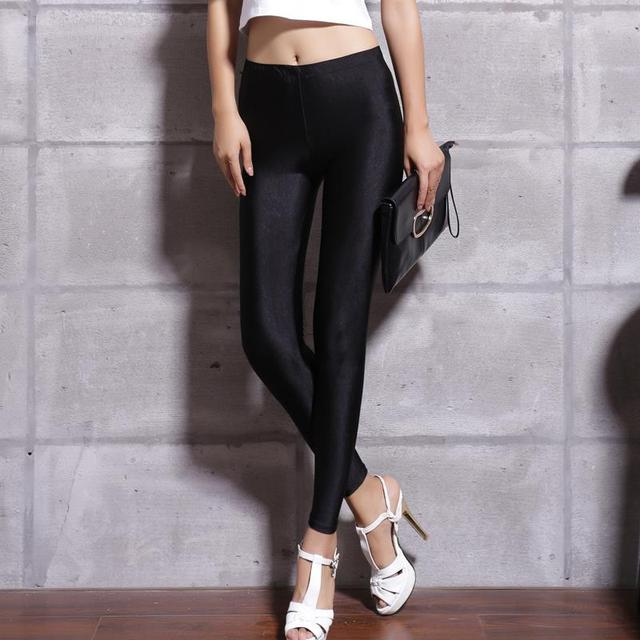 Women Solid Color Fluorescent Shiny Pant Leggings Spandex Shinny Elasticity Casual Trousers 1