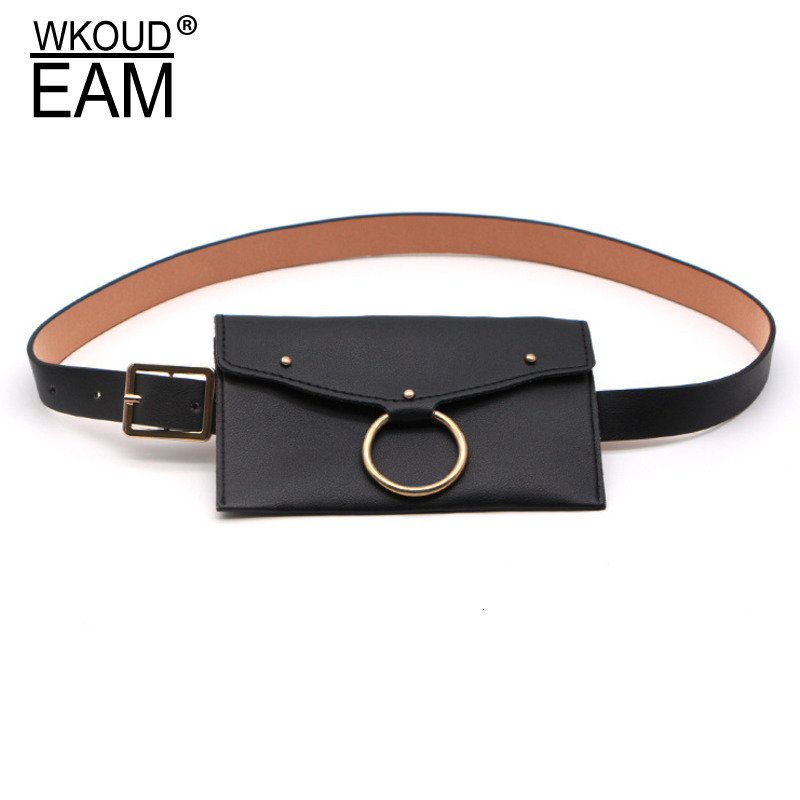 WKOUD EAM 2020 New Fashion Trendy Belt Bag For Women Solid Metal Ring Imitation Leather Causal Tide Korea Style Belt Female A94