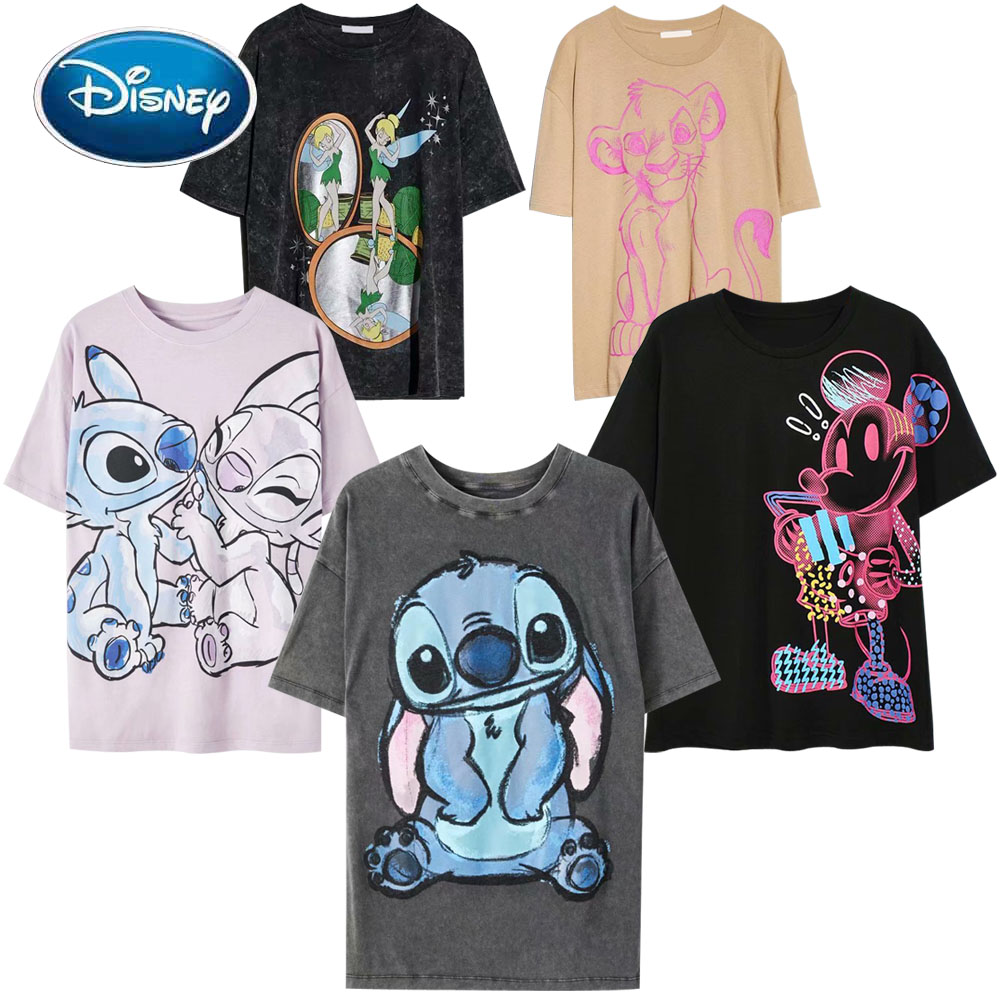 Disney Family T-Shirt Fashion Winnie the Pooh Mickey Mouse Stitch Fairy Dumbo SIMBA Cartoon Print Women T-Shirt Cotton Tee Tops 1