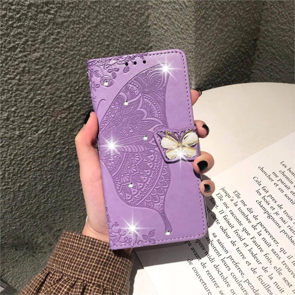 Butterfly Leather <font><b>Case</b></font> For <font><b>Huawei</b></font> Honor 9X 8s 7s 8a 10i 20i <font><b>20</b></font> 10 9 Lite <font><b>Pro</b></font> <font><b>Rhinestone</b></font> Flip Book <font><b>Case</b></font> For Honor 9X 8s 7s Cover image
