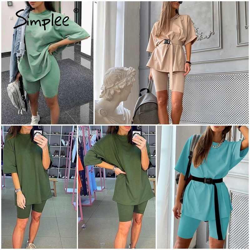 Simplee Casual Solid Outfits Vrouwen Twee Stuk Pak Met Riem Thuis Losse Sport Trainingspakken Fashion Fiets Pak Zomer Hot 2020