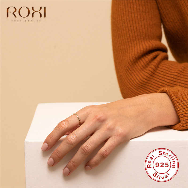 Anillo de plata fina ROXI 925, anillos de boda lisos para mujer, joyería a la moda, anillos de pareja antialérgicos, Bisutería